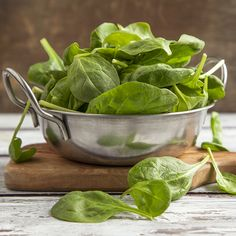 Spinach This hearty green is rich in magnesium—and when you're low in this mineral, you can end up feeling tired, irritable, and even foggy, says Young. Spinach is also high in vitamins A, B, and C, and it's a solid source of iron and protein, both of which pump up energy levels. It gets better: Research has found that spinach may boost weight loss by reducing cravings for sweets and salty junk food.