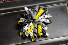 White Black Grey & Yellow Korker Hairbow by ruffles2ribbons, $4.00
