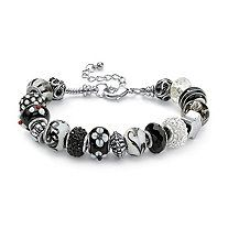 """Round Black and White Crystal Silvertone Bali-Style Beaded Charm and Spacer Bracelet 8"""""""