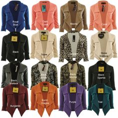 Jaliyah New Womens Waterfall Blazer 3/4 Sleeve Ponte Ladies Blazer Jacket Coat