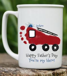 Firetruck Mug. Handprint and footprint art for baby and kids. Send us your prints and we do the rest! Great gifts for moms and dads, grandparents, holidays and special occasions!