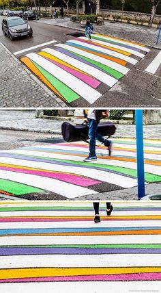 스페인 마드리드 거리의 횡단보도가 예술이 되었습니다.Funnycross 라는 프로젝트의 일환인데요 직역하면 ...