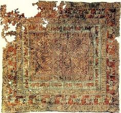 """Worlds's oldest carpet century BC. The """"Pazyryk carpet"""" The exceptional carpet was discovered in 1949 in an archaeological excavation in the Pazyryk Valley, in the Altai Mountains in Siberia. Persian Carpet, Persian Rug, Textiles, Silver Carpet, White Carpet, Siberia, Toronto, Magic Carpet, Patterned Carpet"""