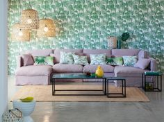 pattern wallpaper and purple sofa
