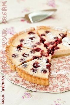 Pudding tart sour cream on Tart Recipes, Dessert Recipes, Cooking Recipes, Desserts, Fruit Tart, No Bake Pies, Polish Recipes, Food Cakes, Sour Cream