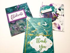 Abstract Nail polish cards - nail polish art - Celebrate - with love - thank you - indigo - purple - handmade cards - hand stamped - Wcards by Wcards on Etsy
