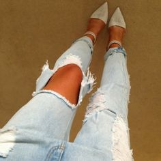 Ripped jeans and pointy heels