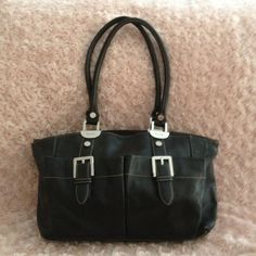 Black leather bag 14.5X9 Black quality leather bag, in very good condition, looks new, used, not abused, see 4th pic for detail on worn parts, very unnoticeable unless you look closely, clean inside, very functional, great  front  pockets Tignanello  Bags