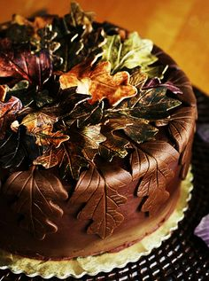 autumn decorated cake--nice idea for a chocolate frosted chocolate cake to make cut outs with a sheet of chocolate  maybe even white chocolate or a variety of chocolate from milk ch, wh and dark