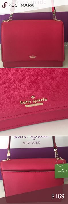 🆕KATE SPADE NEW SHOULDER BAG 💯AUTHENTIC KATE SPADE NEW NEVER USED WITH TAGS SHOULDER BAG 100% AUTHENTIC. STUNNING AND STYLISH TOTALLY ON TREND! THIS IS A HIGH END RETAIL BAG NOT A OUTLET BAG! THIS IS TRUE LUXURY. . IT HAS A GREAT REAR OUTSIDE POCKET! INSIDE THE MAIN COMPARTMENT YOU WILL FIND TWO WONDERFUL WALL POCKETS. THIS STUNNING BAG MEASURES 10.5 INCHES WIDE BY 8 INCHES TALL. SO A WONDERFUL BAG. THE SHOULDER STRAP HAS A 13 INCH DROP kate spade Bags Shoulder Bags