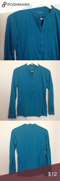 🦋L.L. Bean Henley🦋 Teal long sleeved henley in good used condition (pilling as seen in pic) L.L. Bean Tops Button Down Shirts