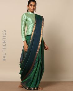 Want to check out the contrasting blouse colors to wear with green sarees? Here are 15 blouse colors that are trending this year. Blouse Back Neck Designs, Blouse Designs Silk, Saree Blouse Patterns, Designer Blouse Patterns, Saree Draping Styles, Saree Styles, Saris Indios, Saree Wearing, Modern Saree