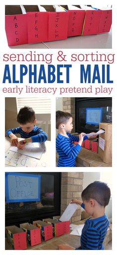 Post Office Letter Sorting - No Time For Flash Cards Such a fun letter recognition idea for preschool.<br> Letter sorting is a fun way to work on letter recognition and get some pretend play in too. Rhyming Activities, Preschool Literacy, Kids Learning Activities, Preschool Lessons, Early Literacy, Literacy Centers, Preschool Alphabet, English Activities, Educational Activities