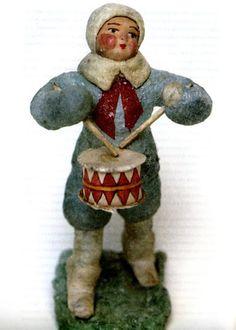 A Russian cotton ornament Antique Christmas Ornaments, Vintage Ornaments, Christmas Tree Ornaments, Christmas Decorations, Dresden, Cotton Crafts, Feather Tree, Old Fashioned Christmas, Christmas Past