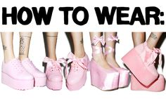 okwowcool:  hey again! im back with another trend guide for you guys this time its how to wear platform shoes!  Keep reading  nu goth pastel goth platform shoes harajuku fashion coording advice how to wear