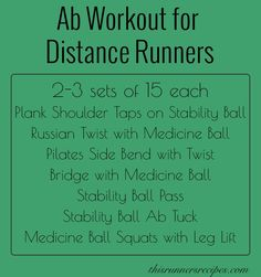 Stability, twisting, and high reps make this ab workout for distance runners a challenging and effective addition to any race training program!