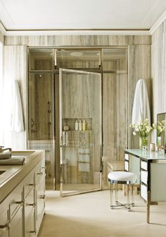 The master bath of a New York apartment by Delphine Krakoff is sheathed in silver travertine. travertine for Wyatt's vanity top and shower floor? Architectural Digest, Interior Exterior, Home Interior, Bathroom Interior, Bad Inspiration, Bathroom Inspiration, City Bathrooms, Luxury Bathrooms, Master Bathrooms