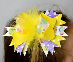 Easter Yellow Marabou 6in Boutique Bow-free shipping