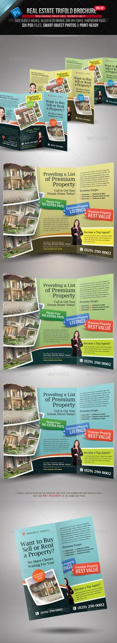 Real Estate Trifold Brochure Vol.02 -   The template is created for sale on Graphic River. You can find more info on how to purchase and download the template files by visiting this site:http://graphicriver.net/item/real-estate-trifold-brochure-vol02/3509644?r=kinzi1