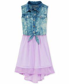 GUESS Girls' Denim-to-Chiffon High-Low Dress - Kids Dresses & Dresswear - Macy's