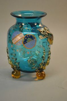 Moser-Bohemian-Art-Glass-Salamander-Aquatic-Blue-Vase