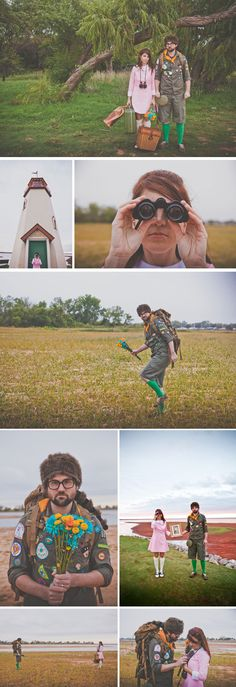 Moonrise Kingdom photo shoot I don't know if this is for a wedding engagement but that wouldn't be a bad idea either