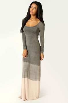 Darcey Long Sleeve Dip Dye Maxi Dress
