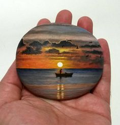 Fishing at sunset acrylic miniature painting on flat sea stone! Original unique painted stone, coverd with gloss varnish for protection. Rock Painting Patterns, Rock Painting Ideas Easy, Rock Painting Designs, Pebble Painting, Pebble Art, Stone Painting, Diy Painting, Stone Crafts, Rock Crafts