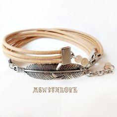 Boho Feather Bracelet Leather Multi Strand Wrap Bracelet Silver Feather Handmade Bracelet Doble wrap