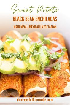 Try this delicious recipe for roasted Sweet Potato Black Bean Enchiladas. It's healthy, vegan-friendly, freezes well, and always a family favorite! Top with cilantro, diced avocado, diced tomatoes and our homemade lime crema! Hearty and delicious sweet potato black bean enchiladas are perfect for a meatless dinner recipe! These enchiladas are delicious and a healthy Mexican-inspired meal idea. Get this enchilada recipe and more at Don't Waste the Crumbs. #vegetariandinnerrecipes #enchiladas Vegetarian Recipes Dinner, Veggie Recipes, Real Food Recipes, Enchilada Ingredients, Enchilada Recipes, Freeze Sweet Potatoes, Roasted Sweet Potatoes, Black Bean Enchiladas, Healthy Snacks