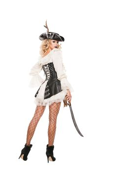 Sexy White Black Rogue Pirate With Dress Costume , Pirate Halloween Costumes, Sexy Costumes For Women, Modern Vintage Fashion, Steampunk Costume, Great Legs, Costume Dress, Ballet Skirt, Cosplay, Poses