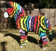 For her tenth birthday Kerry wanted a zebra piñata, but a black and white zebra just wasn't festive enough for a party. Enter the Rainbow Zebra. Rainbow Pinata, Rainbow Zebra, 6th Birthday Parties, Baby First Birthday, Birthday Ideas, Zebra Birthday, Rainbow Birthday, Jungle Party Decorations, Zebras