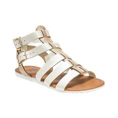 Women's MUK Luks Juanita Gladiator Sandals ($22) ❤ liked on Polyvore featuring shoes, sandals, light cream, summer shoes, greek sandals, buckle shoes, cream shoes and summer sandals