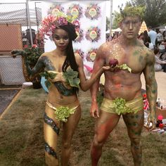 Adam and Eve Body Painting, Body Glitter, Body Paint Makeup by Sarah English and Orlando Barsallo