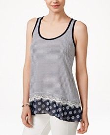 Maison Jules Mixed-Media Tank Top, Only at Macy's