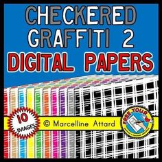 #CHECKERED #GRAFFITI SET 2 DIGITAL PAPERS - CLIP ARTCOLORS: 10 COLORFUL DESIGNS AS SHOWN ON PRODUCT COVER.SHAPE: A4 PORTRAIT (CAN BE ENLARGED)IN THIS ZIPPED FOLDER, YOU WILL FIND 10 IMAGES (PNG, 300 DPI).  These images will enhance any project!! They are crispy clear and so you can enlarge them as you desire.SIMPLE TERMS OF USE are available in the zipped folder and also when you press preview:) THESE IMAGES CANNOT BE RECOLORED OR USED TO CREATE OTHER CLIP ART.