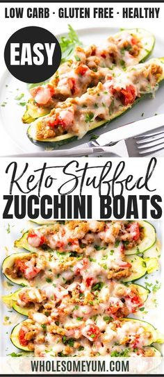Keto Italian Sausage Stuffed Zucchini Boats Recipe - This easy Italian sausage stuffed zucchini recipe (sausage stuffed zucchini boats) is healthy & delicious! Keto zucchini boats take 10 minutes to p Lunch Recipes, Real Food Recipes, Diet Recipes, Breakfast Recipes, Cooking Recipes, Healthy Recipes, Breakfast Hash, Mcdonalds Breakfast, Breakfast Casserole