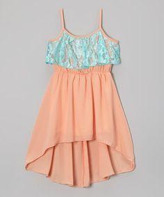 Look at this #zulilyfind! Mint & Coral Chiffon Ruffle Dress - Girls by Maya Fashion #zulilyfinds
