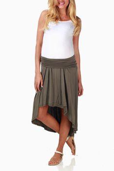 Olive Hi-Low Maternity Skirt