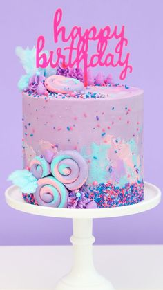 Cotton Candy Swiss Meringue Buttercream featuring our premium Cotton Candy sprinkle mix with real cotton candy bits! I Sweets & Treats Candy Birthday Cakes, My Birthday Cake, Birthday Cake Decorating, Torta Candy, Cotton Candy Cakes, Cotton Candy Party, Bolo Panda, Kreative Desserts, Candy Sprinkles