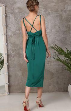 Изумрудное платье-комбинация на запах TOP20 studio / 2000000891743-3