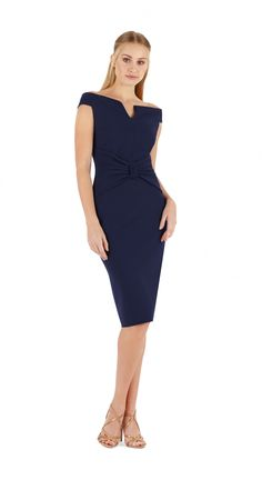 Stretch jersey knee sheath dress.  Plain, off-the-shoulders with cut-out, bow at the waist, short sleeves.  Raw edge hem for ease of tailoring, will not fray if cut.