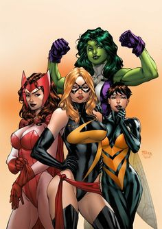 Scarlett Witch, She-Hulk, The Wasp, ( Ms. ) Captain Marvel.