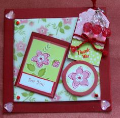 bright and cheerful thank you card - the tag sits in the little pocket on the front