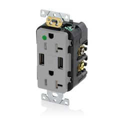 20 Amp Decora Hospital Grade Tamper Resistant Duplex Receptacle and 3.6 Amp USB Charger, Gray