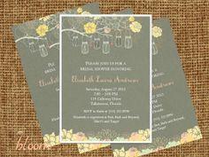 Bridal Shower Invitation - Rustic - Mason Jars - Hanging Mason Jars - Shabby Chic, Floral, Flowers, Southern - Printable, DIY, Digital