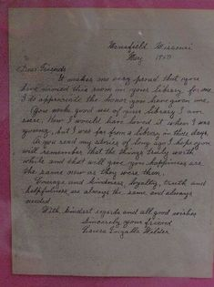 The handwritten manuscript of Laura Ingalls Wilder's Little Town on the Prairie is the heart of the Pomona Public Library's Laura Ingalls Wilder Collection. Laura Ingalls Wilder, Wilder Book, Pioneer Crafts, Ingalls Family, Handwritten Letters, Silver Lake, At Least, Wisconsin, Minnesota