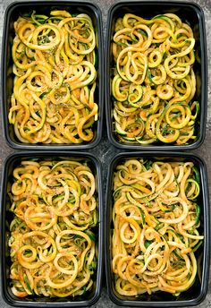 Zucchini noodles are tossed in an Asian sesame sauce for easy meal prep that can be eaten hot or cold.