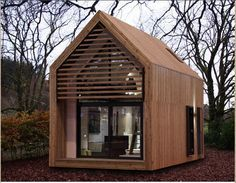 From dwelle architects...I love how sleek and modern this is...from the UK. It is prefab, and takes advantage of the vertical space to create a sleeping loft over the back kitchen and bathroom, while leaving vaulted ceilings in the front.