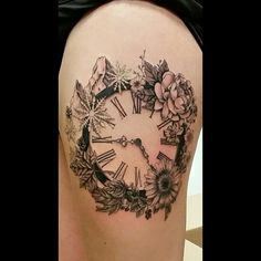 Some progress on @hilroy10 who sat like a champ! Not finished yet #wip #ink #art #myart #customtattoo #custom #clock #clocktattoo #nature #naturetattoo #mountains #mapleleaf #mountaintattoo #snowflakes #snowflaketattoo #romannumeraltattoo #romannumerals #flowers #flowertattoo #girlswithtattoos #thighpiece #tattoosofinstagram